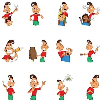 Cartoon illustratie van kapper set