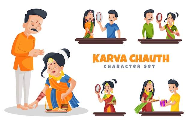 Cartoon illustratie van karva chauth tekenset