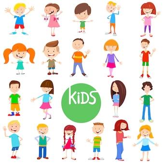 Cartoon illustratie van kinderen en tieners tekens instellen