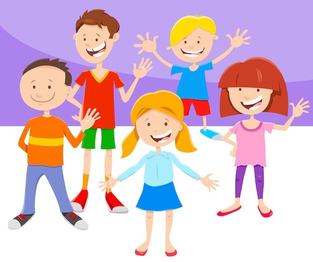 Cartoon illustratie van kinderen of tieners