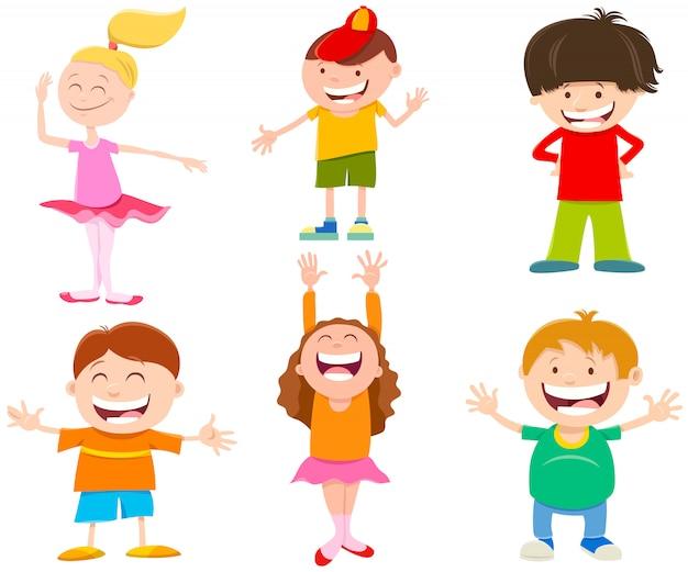 Cartoon illustratie van kinderen tekens instellen