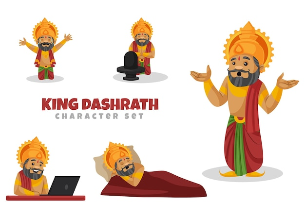 Cartoon illustratie van king dashrath character set
