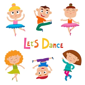 Cartoon illustratie van kleine sierlijke dansers kinderen