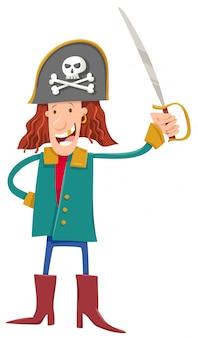Cartoon illustratie van komische piraat karakter