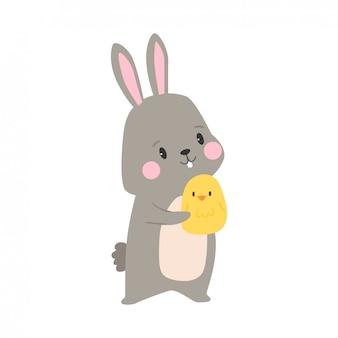 Cartoon illustratie van konijn Premium Vector