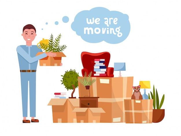 Cartoon illustratie van lader verhuizer man die doos. stapel van gestapelde kartonnen dozen met meubels. concept voor thuis verplaatsen. geïsoleerd op witte achtergrond lettering quote we gaan verhuizen
