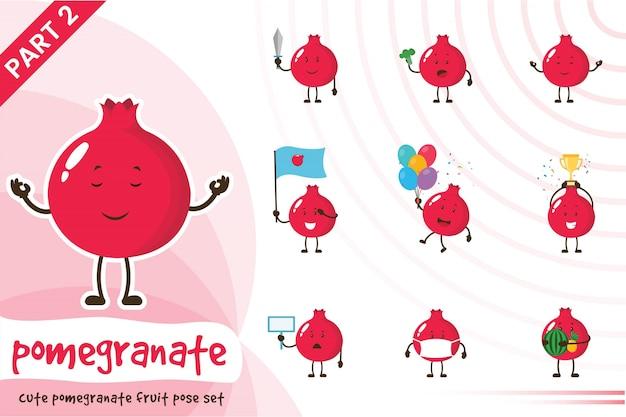 Cartoon illustratie van leuke granaatappel fruit set