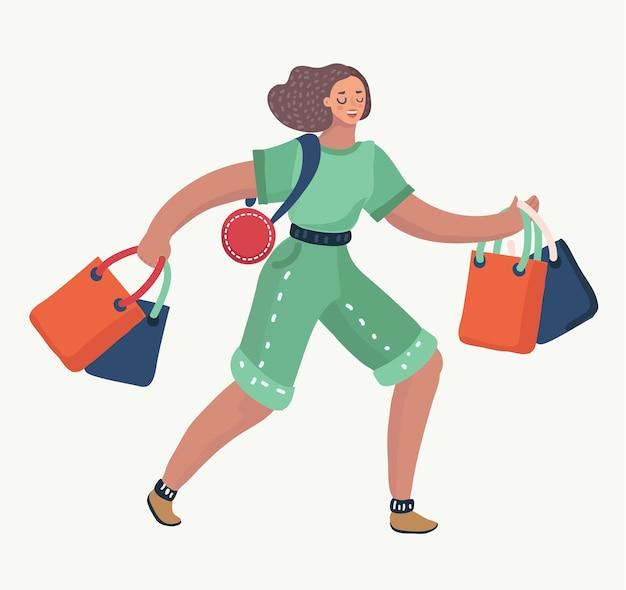 Cartoon illustratie van leuke vrouw snel movel met geschenkzakken. na het winkelen. om aankopen te doen. vrouwelijke personages in moderne stijl.