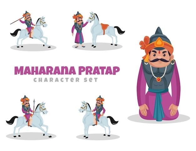 Cartoon illustratie van maharana pratap character set