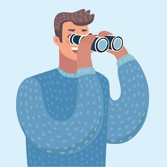 Cartoon illustratie van man met verrekijker, persoon kijkt door een kijker. mannelijk karakter op geïsoleerde balcground.