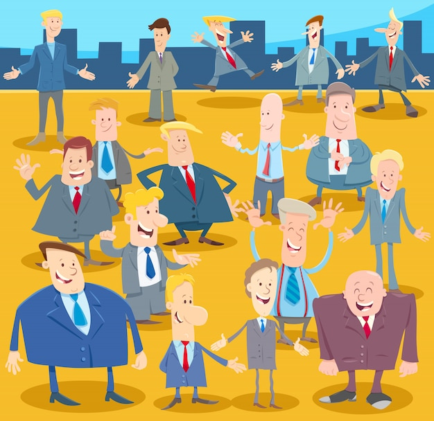 Cartoon illustratie van mannen of zakenmensen groep
