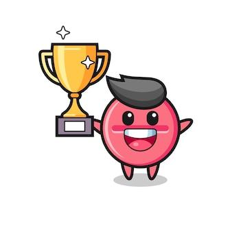 Cartoon illustratie van medicijntablet is blij met het omhoog houden van de gouden trofee, schattig ontwerp