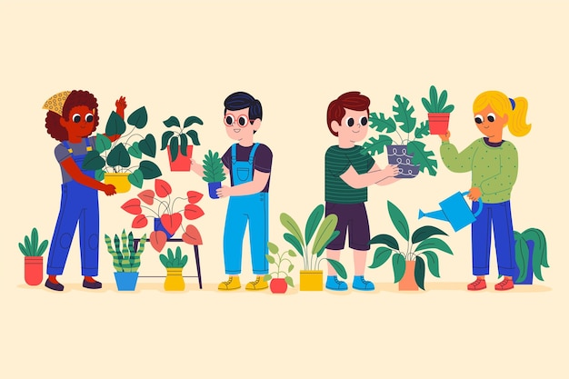 Cartoon illustratie van mensen die voor planten zorgen