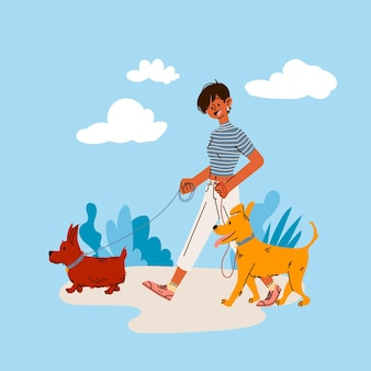 Cartoon illustratie van mensen met huisdieren