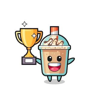 Cartoon illustratie van milkshake is blij met het omhoog houden van de gouden trofee, schattig stijlontwerp voor t-shirt, sticker, logo-element