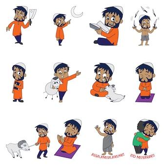 Cartoon illustratie van moslim man set