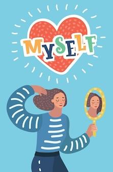 Cartoon illustratie van narcistische vrouw karakter kijkt in de spiegel