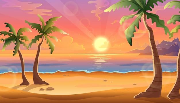 Cartoon illustratie van oceaan landschap in zonsondergang of zonsopgang met mooie roze lucht en zon reflectie over het water. prachtige natuur met palmbomen en strand.