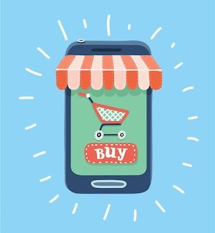 Cartoon illustratie van online winkelconcept op smartphone met gestreepte luifel winkelwagentje en koopknop.