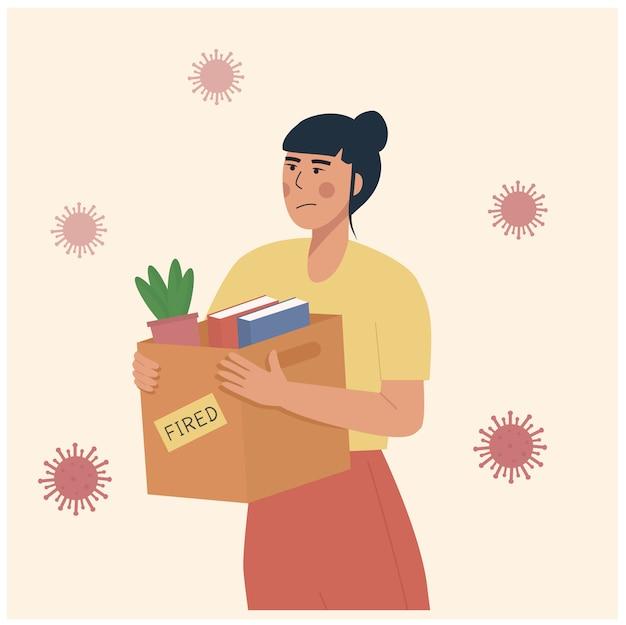 Cartoon illustratie van ontslagen werknemer tijdens pandemie. verlies baan door coronaviruscrisis covid-19 uitbraak lockdown. afgedankte kist met haar spullen. werkloosheid concept, vermindering van banen