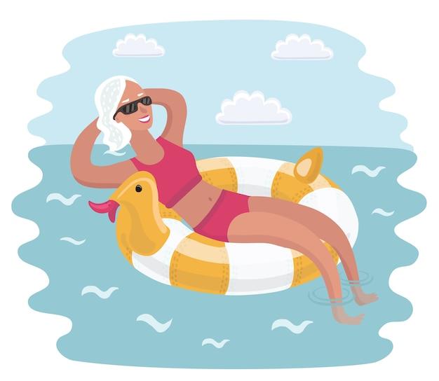 Cartoon illustratie van oudere vrouw ontspannen nemen zonnen, zittend in ligstoelen onder parasol.