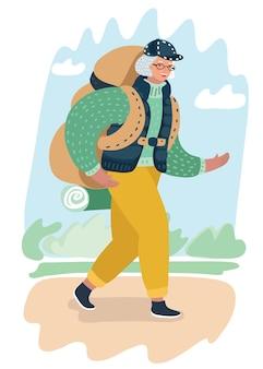 Cartoon illustratie van paar oudere vrouw toerist met rugzak