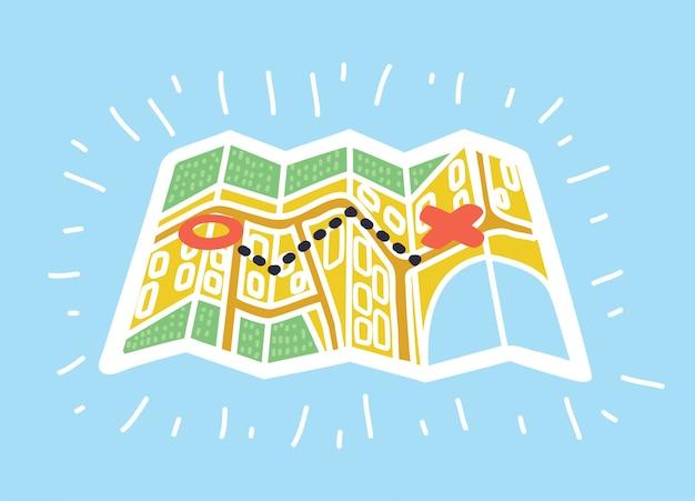 Cartoon illustratie van papieren kaarten in kleurrijke moderne stijl Premium Vector
