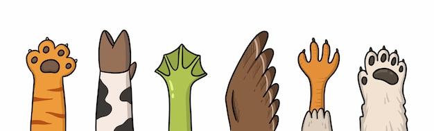 Cartoon illustratie van poten van verschillende dieren