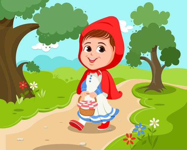 Cartoon illustratie van roodkapje vector