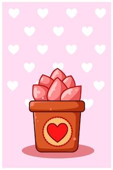 Cartoon illustratie van roze sierplanten op valentijnsdag