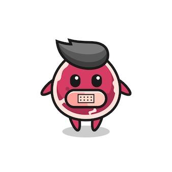 Cartoon illustratie van rundvlees met tape op mond, schattig stijlontwerp voor t-shirt, sticker, logo-element
