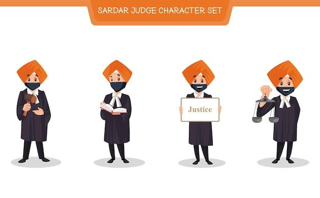 Cartoon illustratie van sardar rechter tekenset