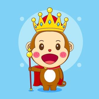 Cartoon illustratie van schattige aap karakter als een koning