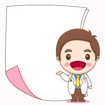 Cartoon illustratie van schattige arts karakter permanent met blanco papier