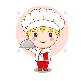 Cartoon illustratie van schattige chef-kok karakter met schotel