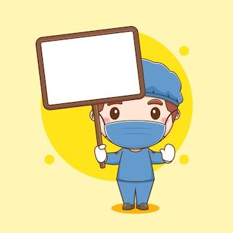 Cartoon illustratie van schattige dokter karakter met leeg bord