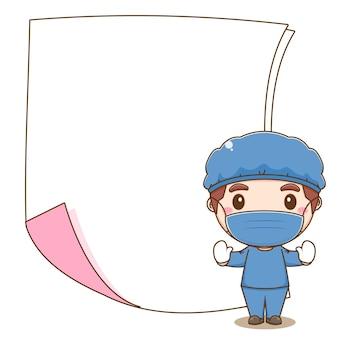 Cartoon illustratie van schattige dokter karakter met leeg papier