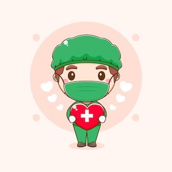 Cartoon illustratie van schattige dokter karakter met liefde