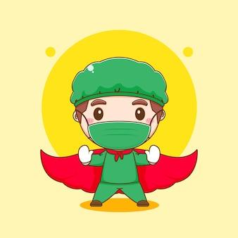 Cartoon illustratie van schattige dokter karakter met mantel