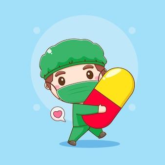 Cartoon illustratie van schattige dokter met capsulepil