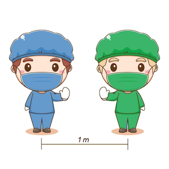 Cartoon illustratie van schattige dokters social distancing