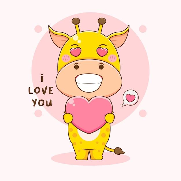 Cartoon illustratie van schattige giraf met liefde
