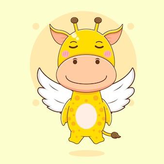 Cartoon illustratie van schattige giraffe karakter als een engel