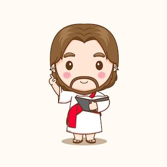 Cartoon illustratie van schattige jezus die lesgeeft en de bijbel vasthoudt