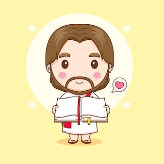Cartoon illustratie van schattige jezus met bijbel