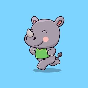 Cartoon illustratie van schattige neushoorn uitgevoerd