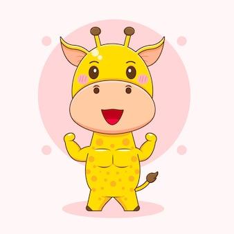 Cartoon illustratie van schattige sterke giraffe karakter Premium Vector