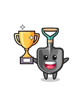 Cartoon illustratie van schop is blij met het omhoog houden van de gouden trofee, schattig ontwerp