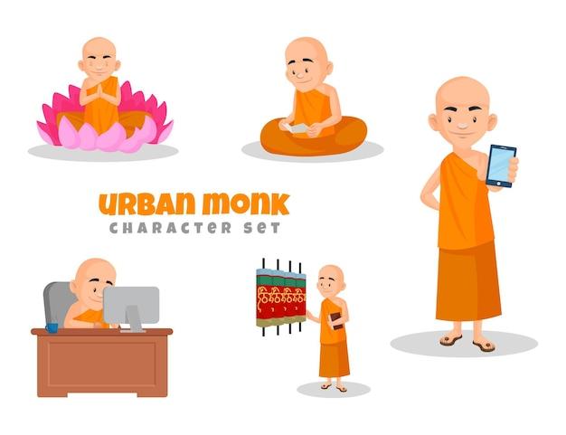 Cartoon illustratie van stedelijke monnik tekenset