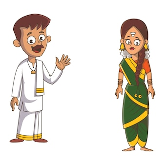 Cartoon illustratie van tamil nadu paar.